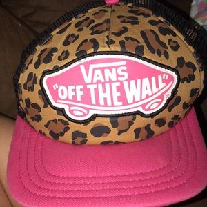Cute pink, black, and cheetah print vans hat